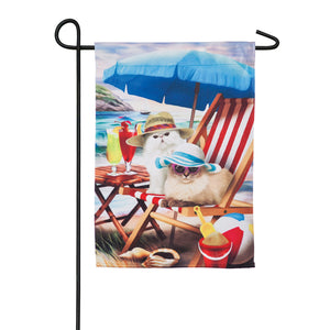 Beach Cats Garden Suede Flag