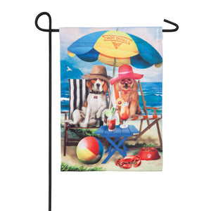 Beach Dogs Garden Suede Flag