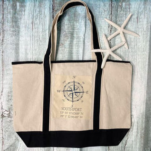Cotton Canvas Boat Tote - Assorted Namedrop Styles