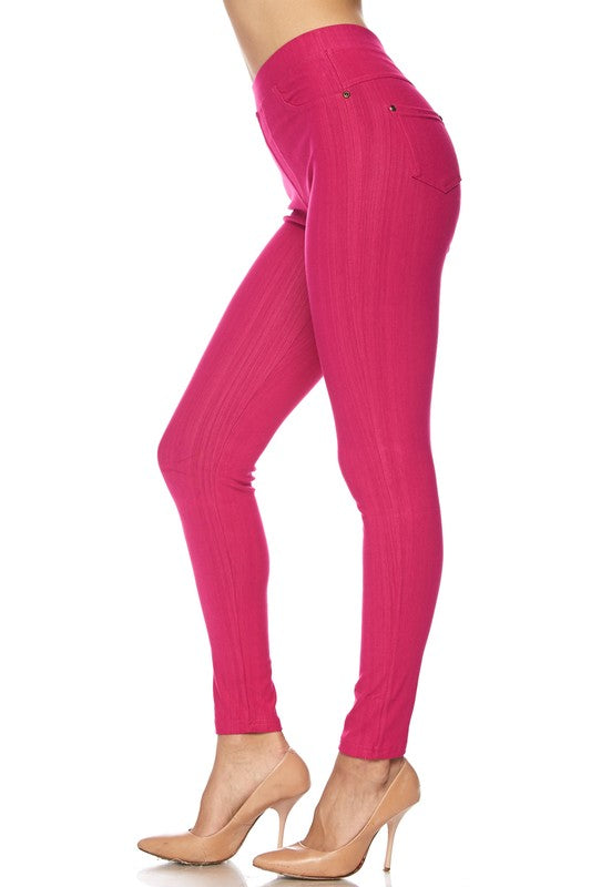 Fuchsia Denim Leggings