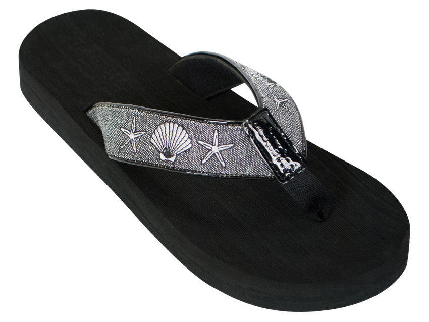 Silver Shells Boardwalk Flip-Flop Sandals