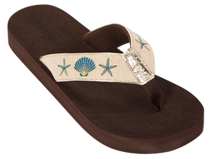 Gold Shells Boardwalk Flip-Flop Sandals