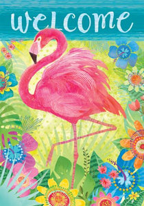 Flamingo Floral Garden Flag