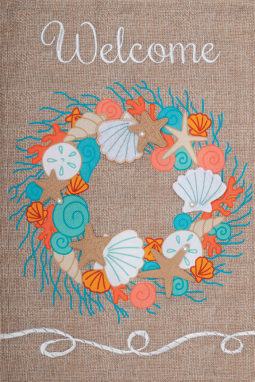 Burlap Coral Wreath Garden Flag