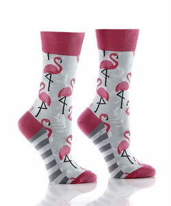 Women's Pink Flamingo Crew Socks