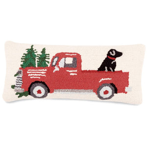 Red Truck & Dog Hooked Pillow