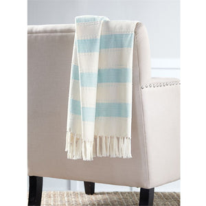 Aqua Chambray Striped Blanket