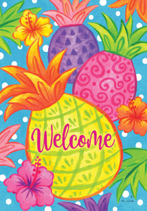 Tropical Pineapple Welcome Garden Flag