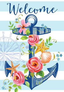 Floral Anchor Welcome Garden Flag