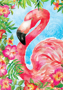 Flamingo Flowers Garden Flag