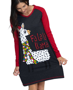 Fa La La Llama Women's Long-Sleeve V-neck Nightshirt