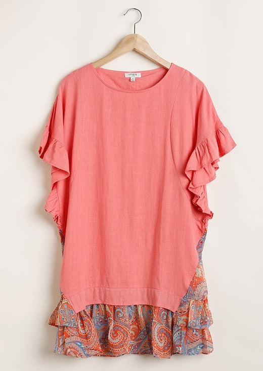 Paisley Ruffled T-Shirt Dress