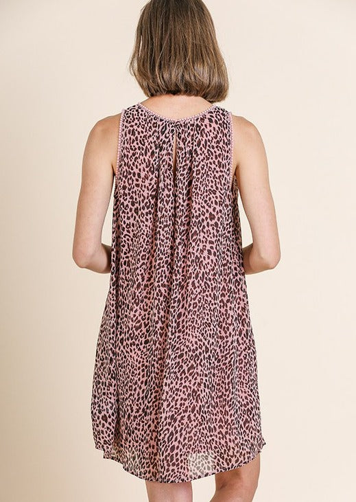 Dusty Pink Sleeveless Leopard Dress