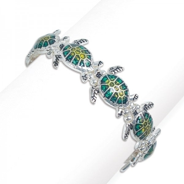 Swimming Enamel Turtles Bracelet