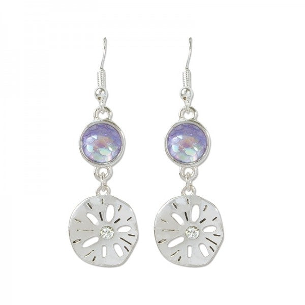 Iridescent Crystals & Sand Dollars Earrings