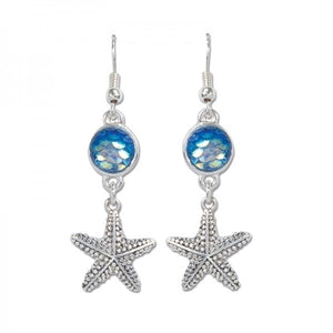 Iridescent Crystals & Starfish Earrings