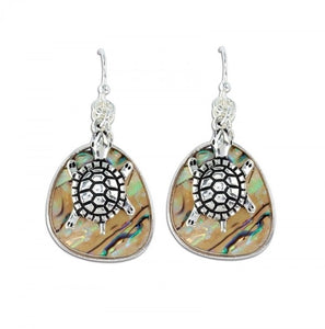 Abalone Silver Turtle Earrings