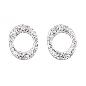 Classic Silver Twisted Round Earrings