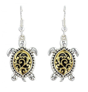 Two Tone Filigree Turtle Earrings