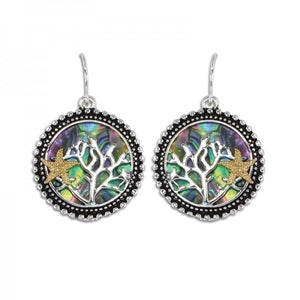 Abalone Coral & Starfish Earrings