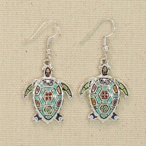 Mosaic Enamel Turtle Earrings