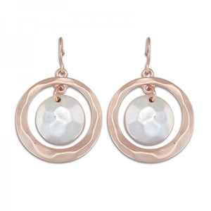 Matte Rose Gold & Silver Circle Earrings