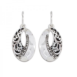 Hammered Silver & Swirl Oval Earrings