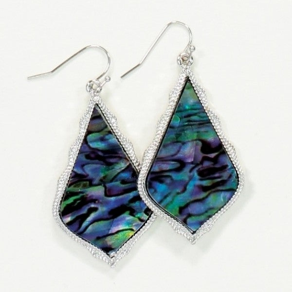 Blue Abalone Teardrop Earrings