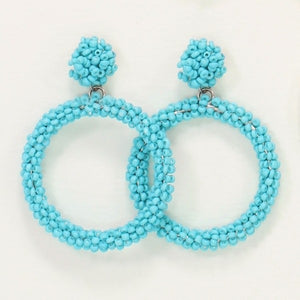 Turquoise Beaded Hoop Earrings