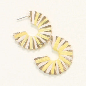 Yellow & White Raffia Hoop Earrings