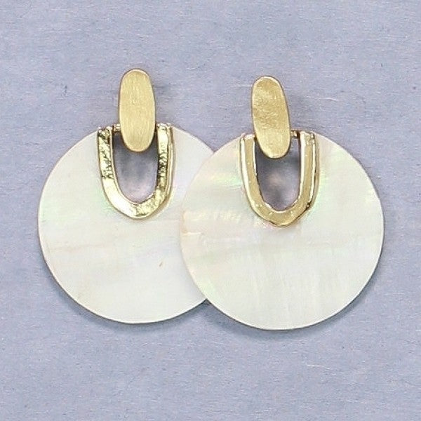 Marbled White & Gold Disc Earrings