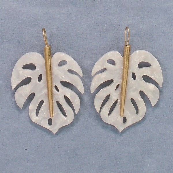 White & Gold Leaves Earrings