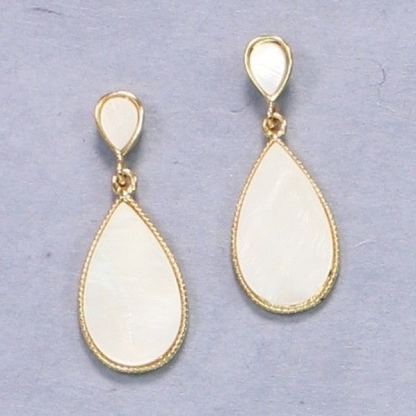 White & Gold Teardrop Earrings