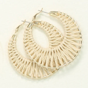 Natural Raffia Hoop Earrings