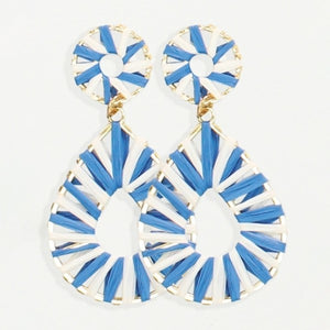Blue & White Raffia Teardrop Earrings