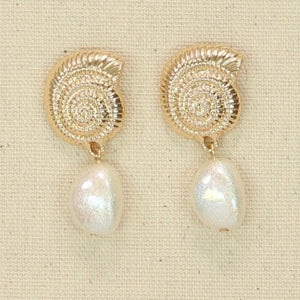 Gold Nautilus with Pearls Earrings