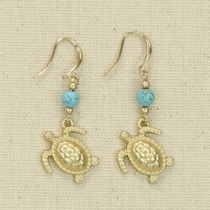 Gold & Turquoise Turtle Earrings