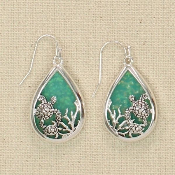 Seaglass with Turtles Earrings