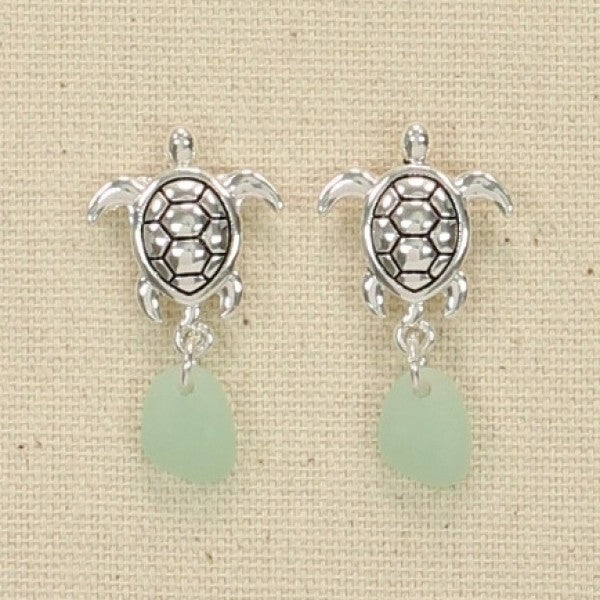 Silver Turtle & Seaglass Drop Earrings