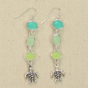 Tri Color Seaglass & Turtle Earrings