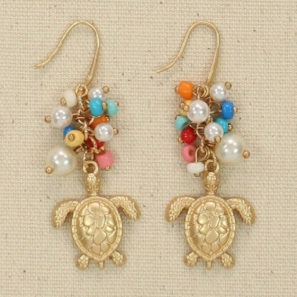 Multi Bead & Turtle Earrings