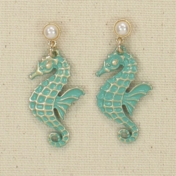 Teal Washed Seahorse Earrings