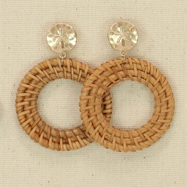 Rattan with Sand Dollar Earrings