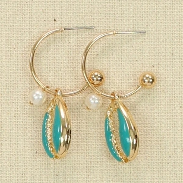 Seafoam Conch Shell Earrings