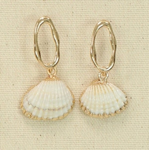 Gold Oval & Shell Earrings