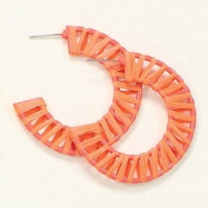 Orange Raffia Hoop Earrings