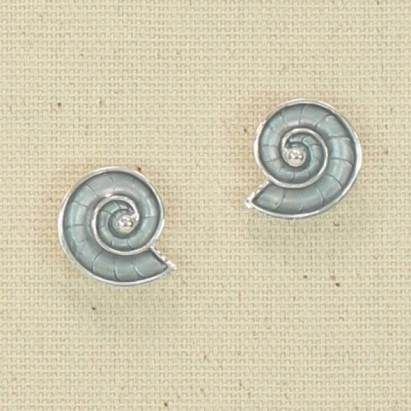 Silver Grey Nautilus Earrings
