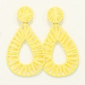 Yellow Rattan Teardrop Earrings