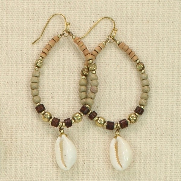Natural Shell & Bead Earrings
