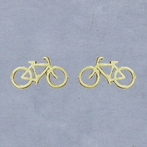Gold Bicycle Earrings